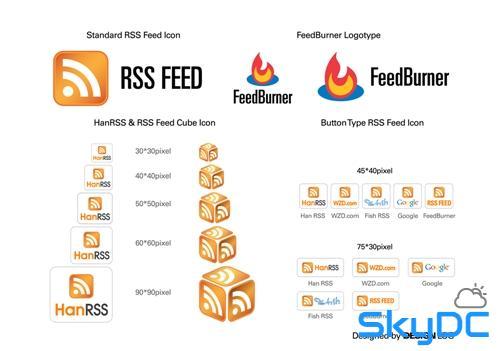 RSS FEED 아이콘, CUBE 타입 디자인