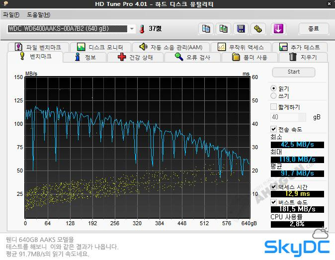 하드디스크 관리 유틸 HD TUNE 무설치 버전
